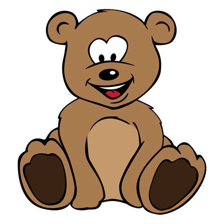 Very cute drawing of a teddybear, nice smile, sitting, color isolated vector illustration for easy editing.