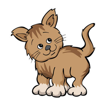Cute Kitten Cartoon Drawing Isolated Vector Illustration  イラスト・ベクター素材