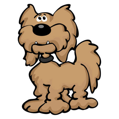 Cute Cartoon Labradoodle Dog Cartoon Isolated Vector Illustration