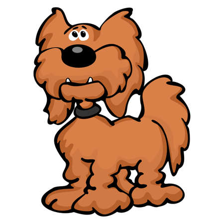 Cute Cartoon Goldendoodle Dog Cartoon Isolated Vector Illustration