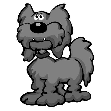 Cute Cartoon Aussiedoodle Dog Cartoon Isolated Vector Illustration