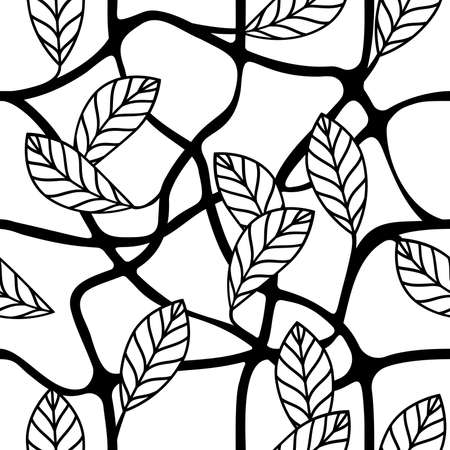 Leaves and branches decorative seamless repeating pattern vector illustration  イラスト・ベクター素材