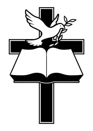 Christian Cross, Bible and Dove with Olive Branch Isolated Vector Illustration  イラスト・ベクター素材