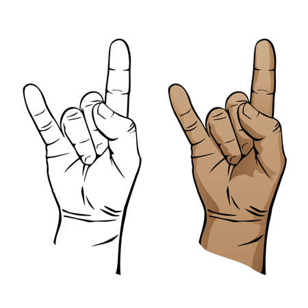 Heavy Metal Music Devil Hand Sign in Color and Black Line Art Vector Illustration