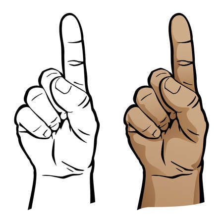 Number One Hand Finger Pointing Up Isolated Vector Illustration