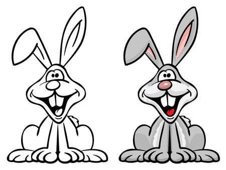 Very cute happy bunny rabbit cartoon illustration, big smile, nice colors, goofy eyes!, isolated vector illustration for easy editing. Ilustrace