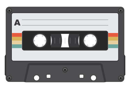 Retro Cassette Tape Isolated Vector Illustration Ilustrace