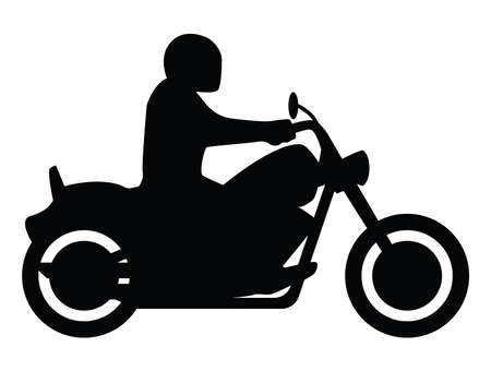 Motorcycle Rider Side View Silhouette Isolated Vector Illustration Ilustrace