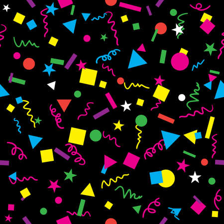 Fun Confetti Design with Bright Bold Colors on Black Background Seamless Repeating Pattern Vector