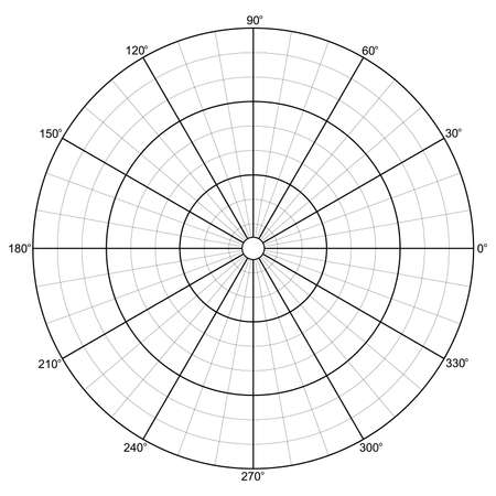 Polar Grid with Concentric Circles Diagram Chart Isolated Vector Illustration