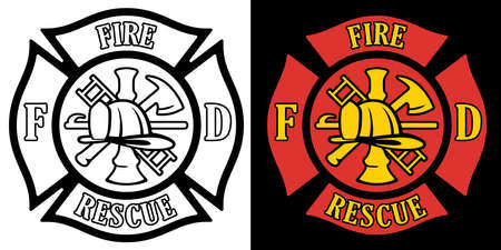 Firefighter Rescue Maltese Florian Cross in both Black Line Art and Red and Gold Color Isolated Vector Illustration Ilustracja