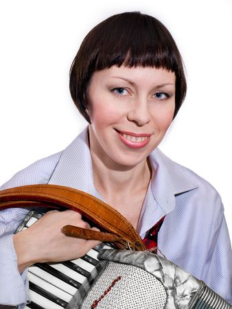 Isolated girl to hold accordion. She is smiling Фото со стока