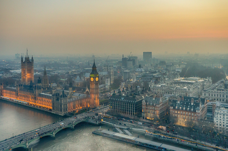 Big Ben and the River Thames - London, England Stock Photo