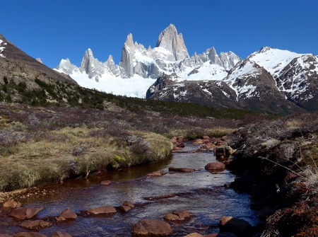 fitzroy: My Fitzroy in southern Argentina, hiking towards tees Lagos. Stock Photo