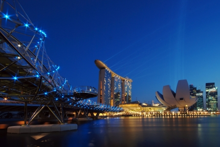 hotel casino: Double helix bridge and Marina Bay Sands