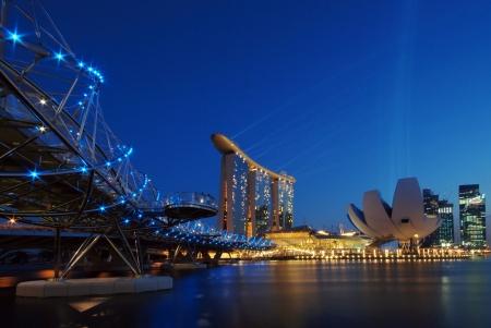 marina bay: Double helix bridge and Marina Bay Sands