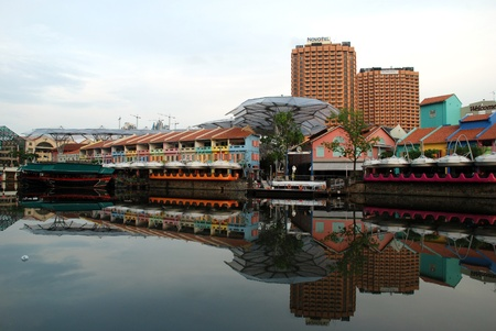 Singapore Clarke Quay and its reflection