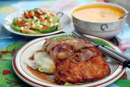 Chicken chop and pumpkin soup