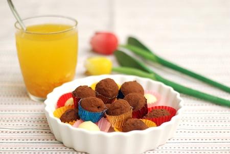 Chocolate truffle with orange juice Stock Photo