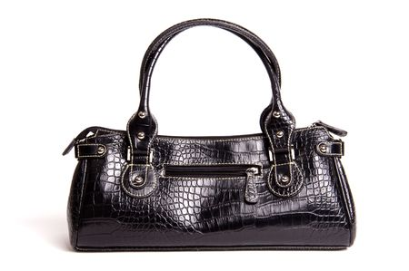 designer bag: fake crocodile leather black bag isolated