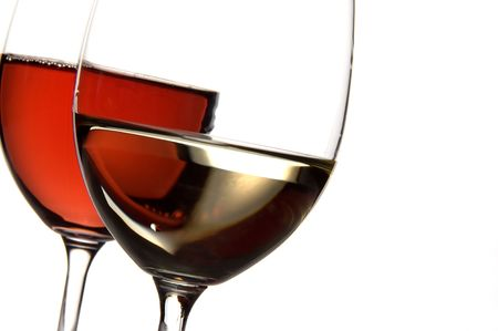 slanted: two glasses of wine on a white background