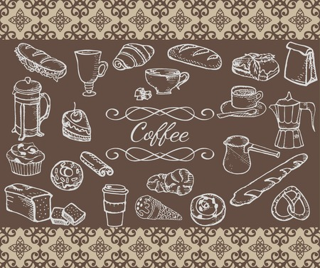 Set of vector hand drawn coffee related objects Vector