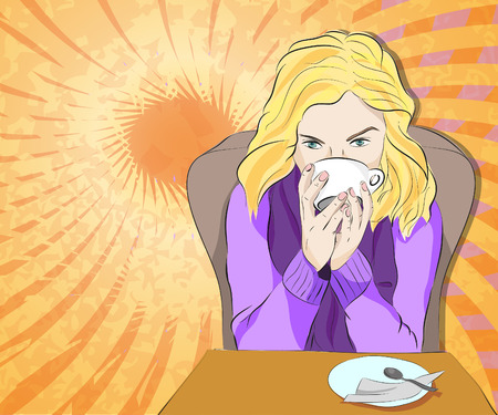 Vector illustration of blond girl drinking coffee on bright sunny abstract background Vector