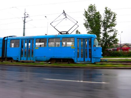Sarajevo, Bosnia and Herzegovina blue tram in motion