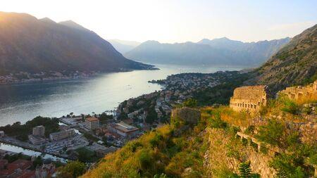 Kotor, Montenegro Panoramic view across the beautiful Bay of Kotor (Boka Kotorska) and the Old Town at sunset Reklamní fotografie