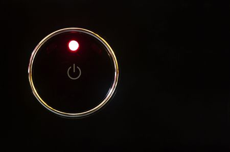Bower button with glowing red light. photo