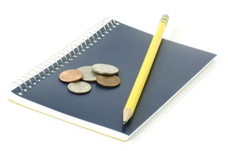 bank records: Notepad, pencil and change.  Education savings concept.