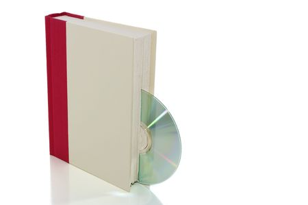 Book with CDDVD isolated on white with clipping path, e-book concept Stok Fotoğraf