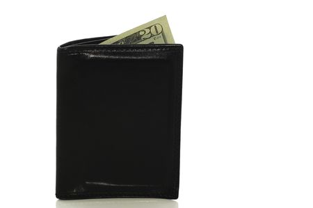 Wallet with money sticking out isolated on white with clipping path