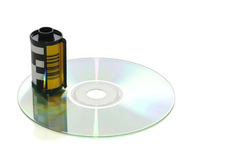 Roll of film on CD with clipping path, digital photography concept Stok Fotoğraf