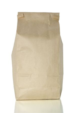 Bag of coffee isolated on white with clipping path