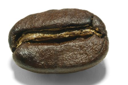 Macro coffee bean isolated on white with clipping path Stok Fotoğraf