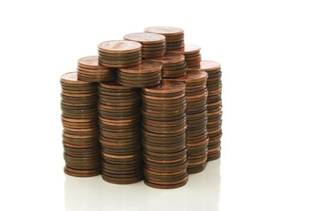 House made of pennies isolated on white with clipping path