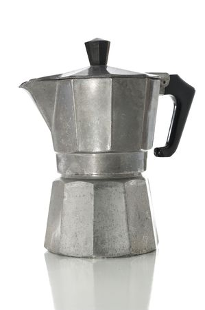Stove top espresso maker isolated on white with clipping path