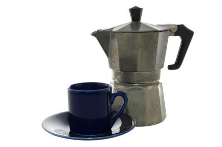 Espresso maker and cup on white  Stok Fotoğraf