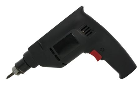 Black power drill isolated on white with clipping path