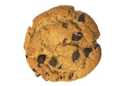 Chocolate chip cookie isolated on white with clipping path Stok Fotoğraf