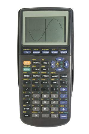 calculadora: Calculadora gr�fica aislado en blanco con trazado de recorte