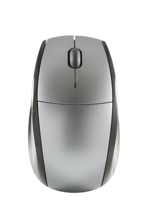 Wireless computer mouse isolated on white with clipping path