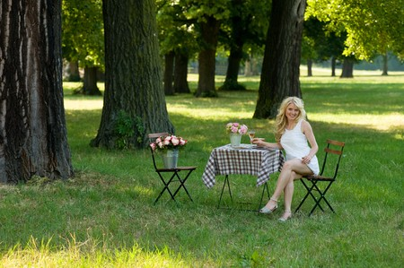 folding chair: young blond in the parc under trees, sitting relaxed on a folding chair beside a folding table with flowers and a glass of wine on it Stock Photo