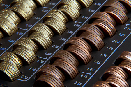 fluting: sorted eurocent-coins in a cash box Stock Photo