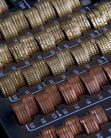 fluting: sorted eurocent-coins in a cash box with tray