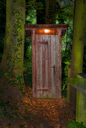 latrine: Wooden dry toilet house with a light inside in the forest between two mighty trees. The ground in front of it is full with autumn foliage. On the right side there is a wooden handrail. The picture which taken in the late evening.