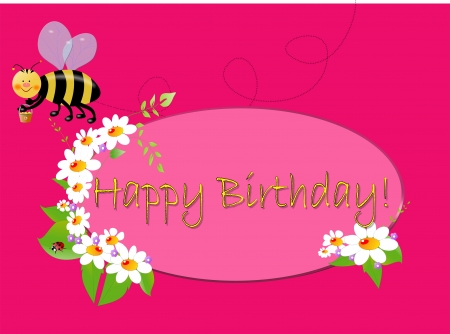 Kind illustration to Birthday with emblem,white flowers and bee,on pink background