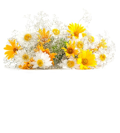 Yellow sunflowers and other flowers bouquet on white background