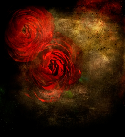 Red roses on dark grunge background with copy space